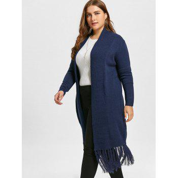 Plus Size Tassel Long Shawl Collar Cardigan - PURPLISH BLUE PURPLISH BLUE