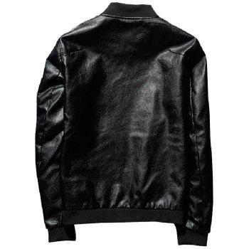 Zip Up Epaulet Faux Leather Bomber Jacket - BLACK 4XL