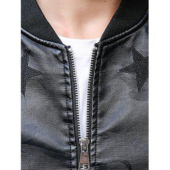 Star Patch Camouflage Faux Leather Bomber Jacket - DEEP BLUE DEEP BLUE