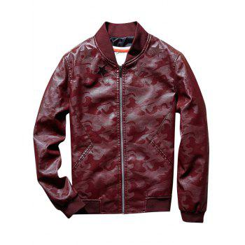 Star Patch Camouflage Faux Leather Bomber Jacket - WINE RED WINE RED