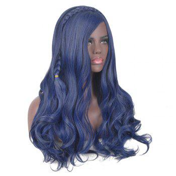 Long Side Bang Braided Wavy Synthetic Descendants Evie Cosplay Wig -  BLUE