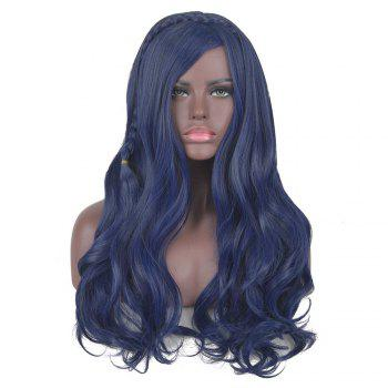 Long Side Bang Braided Wavy Synthetic Descendants Evie Cosplay Wig - BLUE BLUE