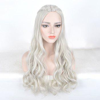 Game of Thrones Daenerys Targaryen Cosplay Long Braids Wavy Synthetic Wig - PEARL SILVER WHITE PEARL SILVER WHITE