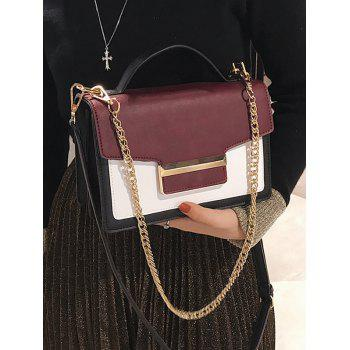 Contrasting Color Metallic Faux Leather Handbag - RED