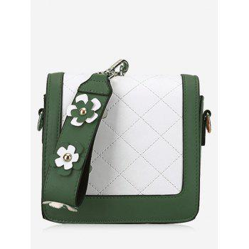 Color Blocking Quilted Flower Handbag - GREEN GREEN