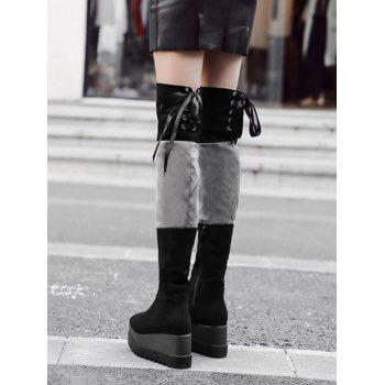 Lace Up Back Thigh High Boots - BLACK 38