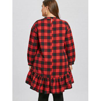 Plus Size Color Block Plaid Flounce Blouse - RED/GREEN RED/GREEN