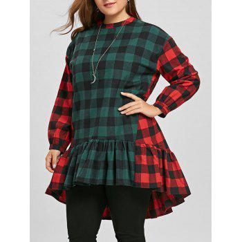 Plus Size Color Block Plaid Flounce Blouse - RED AND GREEN RED/GREEN