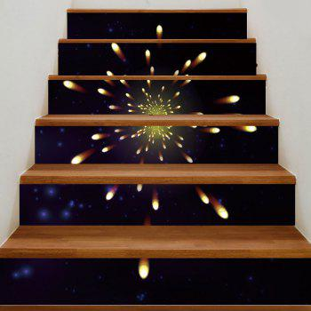 Firework Pattern Removable Stair Stickers - BLACK 100*18CM*6PCS