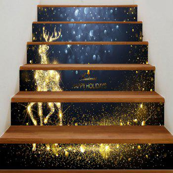 Christmas Sparkling Deer Pattern Stair Stickers - COLORMIX 100*18CM*6PCS