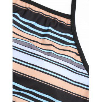 Striped Halter Underwire Bikini Swimsuit - COLOR STRIPE XL