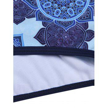 Cap Sleeve Half Zipper Ethnic Print Swimwear - BLUE BLUE