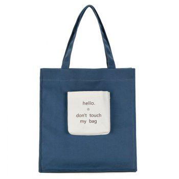 Letter Print Canvas Contrasting Color Shoulder Bag - BLUE BLUE