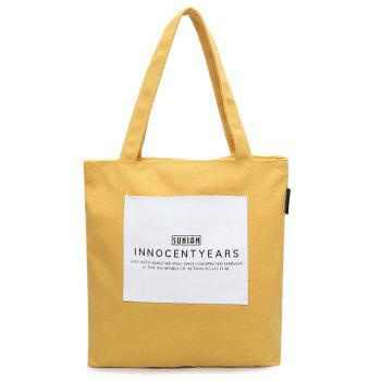 Canvas Eco Letter Print Shoulder Bag - YELLOW YELLOW