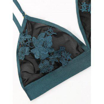 Sheer Mesh Flower Appliques Bralette Set - DEEP GREEN 80C