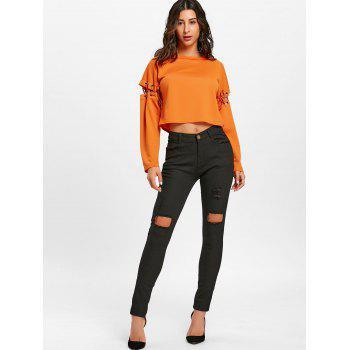 Skinny High Waisted Ripped Pants - BLACK BLACK