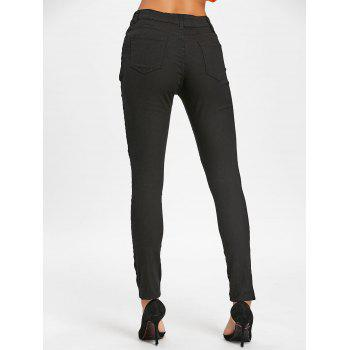 Skinny High Waisted Ripped Pants - BLACK L