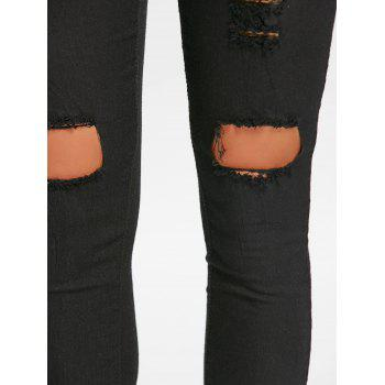 Skinny High Waisted Ripped Pants - BLACK XL