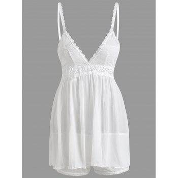 Sheer Mesh Slip Babydoll with Lace - WHITE WHITE