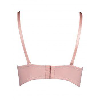 Padded Lace Bra with Lace-up Detail - LIGHT PINK 75B
