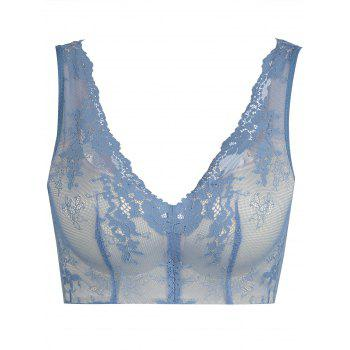 Push Up Lace Plunge Neck Bra - BLUE BLUE