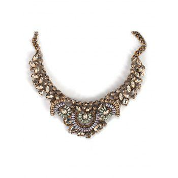Alloy Faux Crystal Teardrop Statement Necklace - COPPER COLOR COPPER COLOR