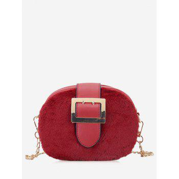 Buckle Strap Chain Crossbody Bag - RED RED
