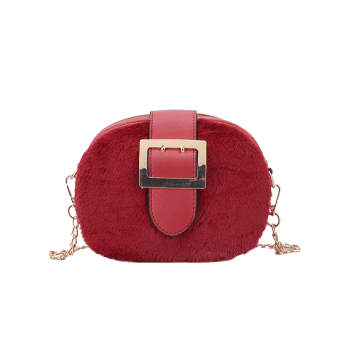 Buckle Strap Chain Crossbody Bag - RED