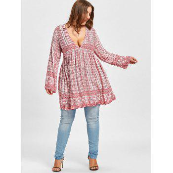 Plunging Ethnic Graphic Plus Size Blouse - RED RED