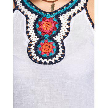 Floral Crochet Tassel Sleeveless Plus Size Blouse - WHITE WHITE