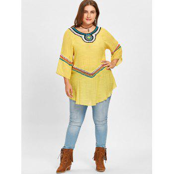Plus Size Raglan Sleeve Crochet Panel Blouse - YELLOW YELLOW