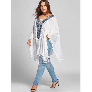 Lace Up Tassel Batwing Sleeve Plus Size Blouse - WHITE WHITE