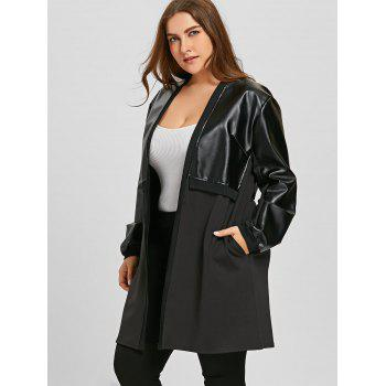 Plus Size Faux Leather Insert Coat - BLACK 3XL