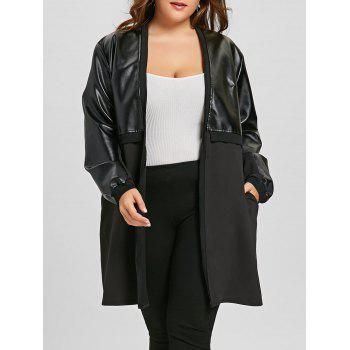 Plus Size Faux Leather Insert Coat - BLACK BLACK