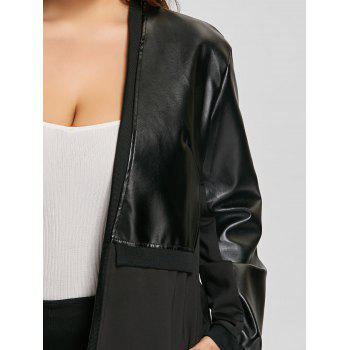 Plus Size Faux Leather Insert Coat - BLACK 4XL