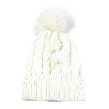 Outdoor Striped Pattern Embellished Knitted  Pom Beanie - WHITE WHITE