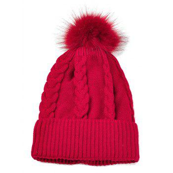 Outdoor Striped Pattern Embellished Knitted  Pom Beanie - RED RED