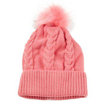 Outdoor Striped Pattern Embellished Knitted  Pom Beanie - PINK PINK