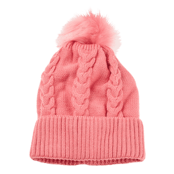 Outdoor Striped Pattern Embellished Knitted  Pom Beanie -  PINK