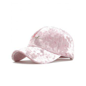 Rose Embroidered Embellished Suede Graphic Hat - PINK PINK