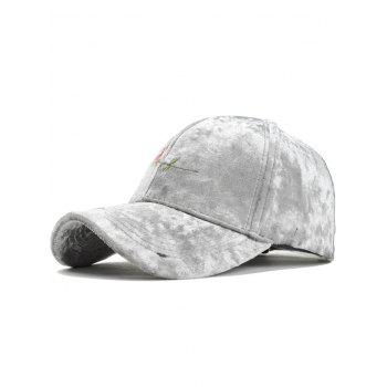Rose Embroidered Embellished Suede Graphic Hat - LIGHT GRAY LIGHT GRAY