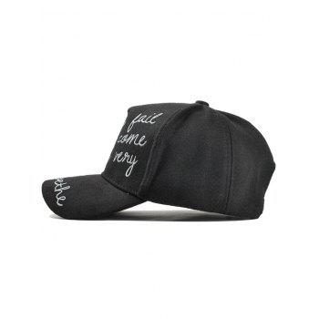 Outdoor Letter Embroidery Baseball Hat -  BLACK