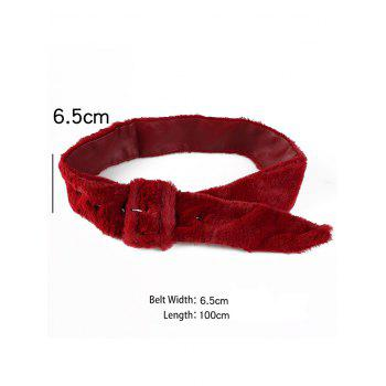 Funny Rectangle Buckle Embellished Furry Wide Waist Belt - RED