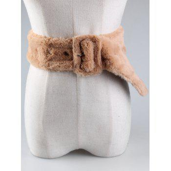 Funny Rectangle Buckle Embellished Furry Wide Waist Belt - KHAKI