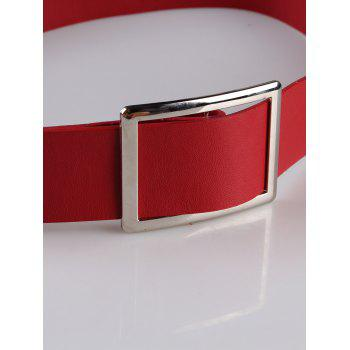 Vintage Metal Buckle Decorated Faux Leather Wide Waist Belt -  RED