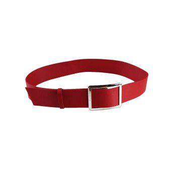 Vintage Metal Buckle Decorated Faux Leather Wide Waist Belt - RED RED