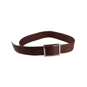 Vintage Metal Buckle Decorated Faux Leather Wide Waist Belt - COFFEE