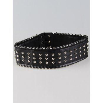 Rivet Decorated PU Leather Wide Waist Belt - BLACK