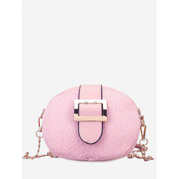 Buckle Strap Chain Crossbody Bag - PINK PINK