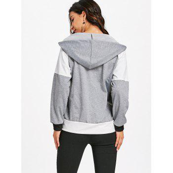 Hooded Raglan Sleeve Zipper Jacket - GRAY GRAY